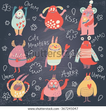 Funny monsters. Lovely monster set for children designs. Sweet smiling creatures in warm colors in vector. Awesome childish collection - stock vector