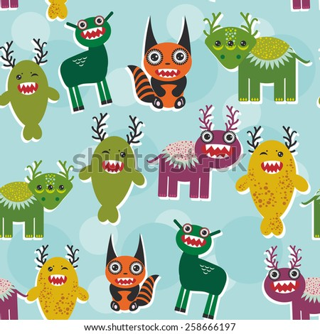 Funny monsters Set. seamless pattern on blue background. Vector  - stock vector