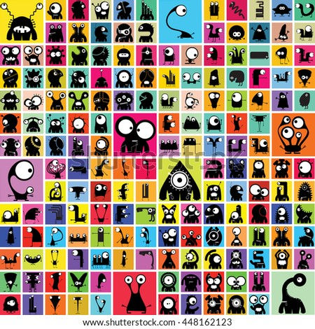 Funny Monsters - vector set - stock vector