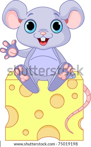 Funny mouse sitting on the piece of  cheese - stock vector