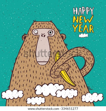 Funny New Year illustration with monkey and banana - stock vector