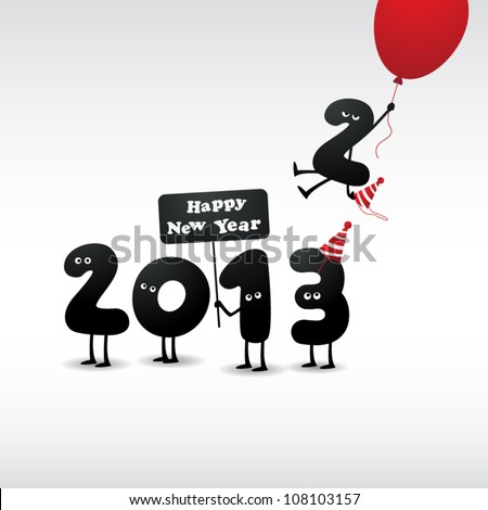 Funny 2013 New Year's Eve greeting card - stock vector