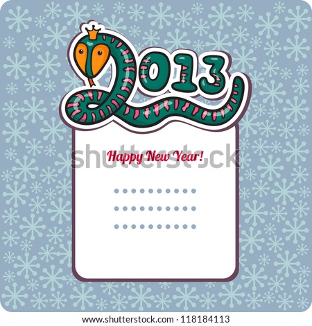 Funny New Year's Eve greeting card with snake. happy new year illustration. Year of snake. Cartoon vector illustration with frame for text. Cartoon sticker. 2013 Year of the snake. Christmas card. - stock vector
