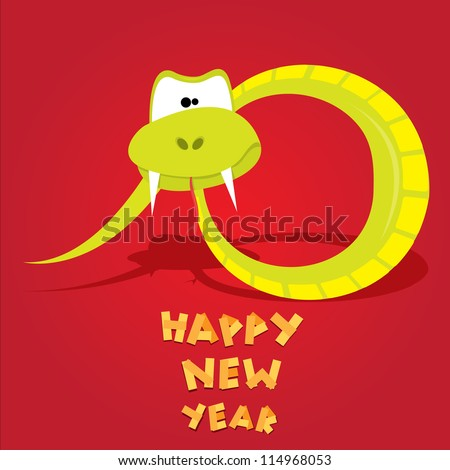 Funny New Year's Eve greeting card with snake. happy new year vector illustration. Year of snake. - stock vector