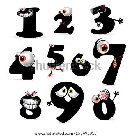 funny numbers collection smile - stock vector