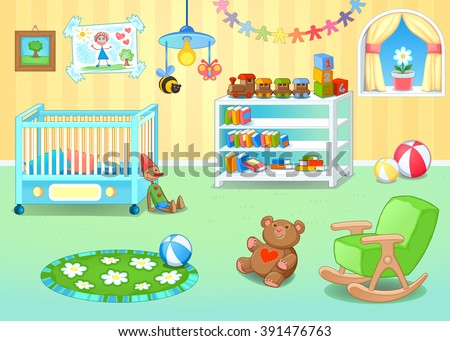 Funny nursery with toys. Vector cartoon illustration - stock vector