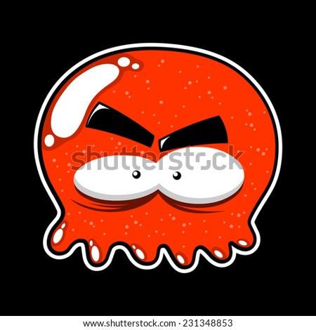 funny octopus jelly on a black background - stock vector