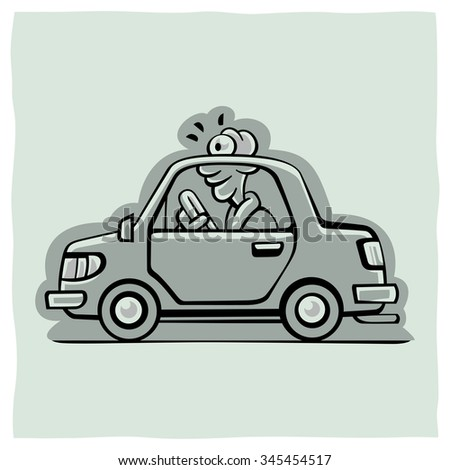 Funny old man driving in a small car - stock vector