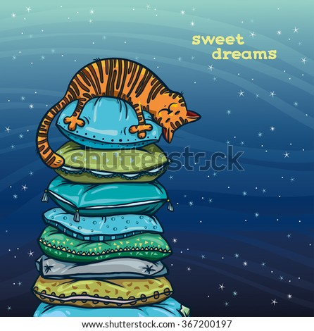 Funny orange cat sleep on a tower of colored pillows on a night starry sky. Sweet dreams. Vector illustration. - stock vector