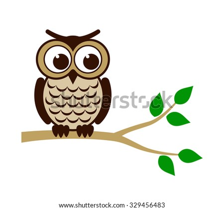 Funny owl sitting on branch. Vector illustration - stock vector