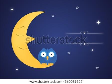 Funny owls on fairy moon. Vector illustration - stock vector