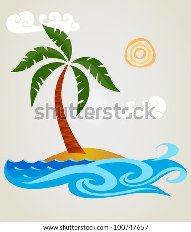 Funny palm tree on a small island.Isolated on background. - stock vector