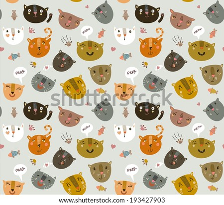 Funny pattern with funny kitties - stock vector