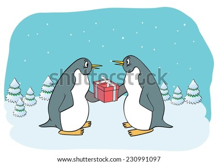 Funny penguin with gift - stock vector
