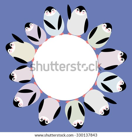 Funny penguins for winter design round frame for your text card template on blue lilac background. Vector - stock vector