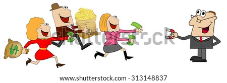 funny people fleeing with money, vector illustration - stock vector