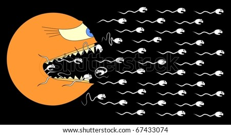 Funny picture of egg eating sperm - stock vector