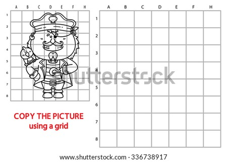 funny pirate educational kids puzzle game. Vector illustration of grid copy educational kids puzzle with happy cartoon pirate for children - stock vector