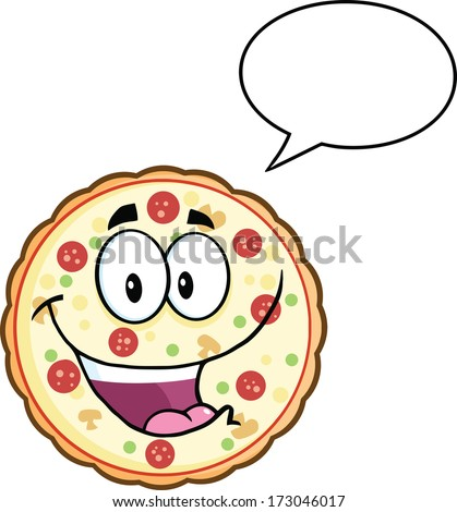 Funny Pizza Cartoon Mascot Character With Speech Bubble. Vector Illustration Isolated on white - stock vector