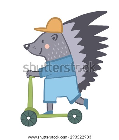 Funny porcupine. a character in a children's style - stock vector