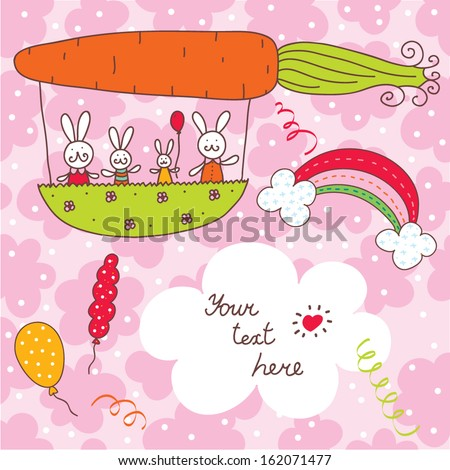 Funny postcard with rabbits. Vector. - stock vector