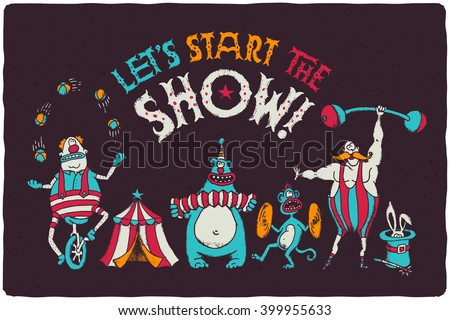 Funny poster with cartoon circus characters. Juggling clown on the bike, bear playing on harmonic, monkey with timpani, strongman with mustaches, magic rabbit in cylinder hat. - stock vector
