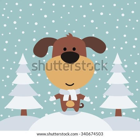 funny puppy in winter on background trees, the snow is falling - stock vector