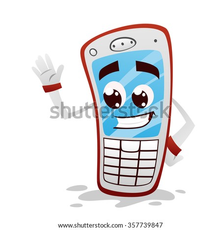 Funny red phone - stock vector