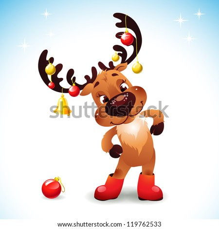 Funny reindeer christmas  Cute Santa Reindeer with Bow Bell and christmas balls - stock vector