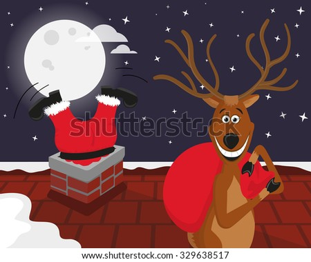 Funny reindeer picked up Santas red bag with gifts while Santa Claus climbing down the chimney on the roof behind him - stock vector