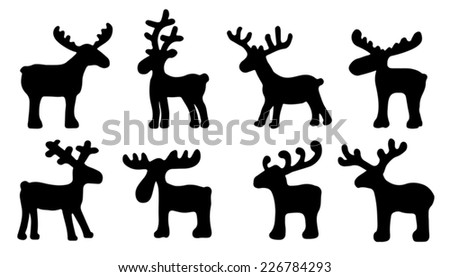 funny reindeer silhouettes on the white background - stock vector