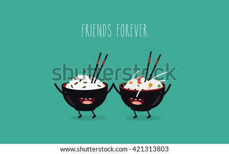 Funny rice noodles and rice in black plates. Friend forever. Vector illustration. Comic character  - stock vector