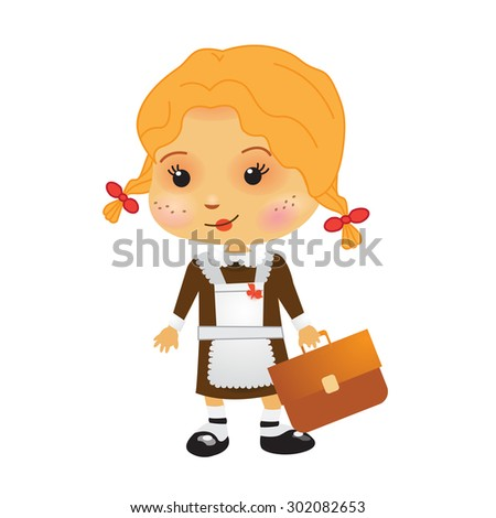 Funny russian school girl - stock vector