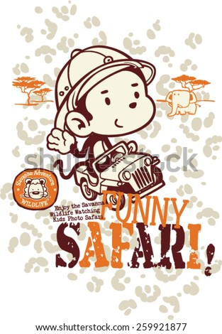 Funny safari monkey, vector for children wear in custom colors  - stock vector
