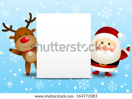 Funny Santa and deer with paper card - stock vector