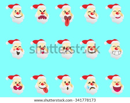 funny Santa Claus expression face icons - stock vector