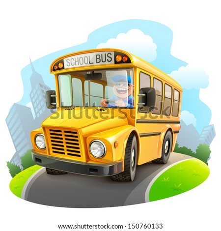 Funny school bus illustration - stock vector