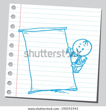 Funny schoolkid holding empty banner - stock vector
