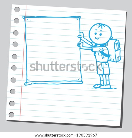 Funny schoolkid with empty banner - stock vector