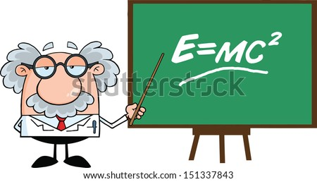 Funny Scientist Or Professor With Pointer Presenting Einstein Formula - stock vector