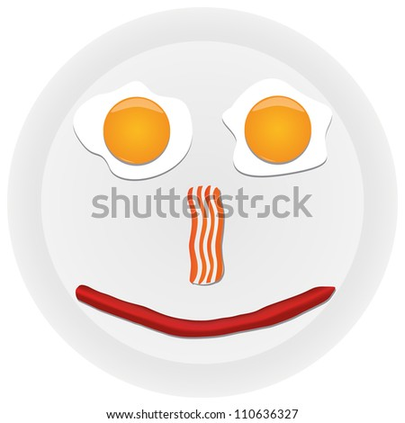 Funny scrambled eggs on the plate - stock vector