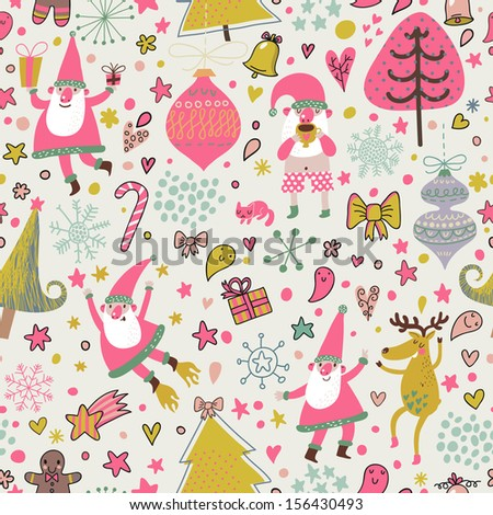 Funny seamless christmas pattern with holiday elements: Santa Claus, reindeer, toys, gift, bow, stars, hearts, trees. Cartoon vector new year texture. - stock vector