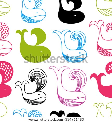 Funny seamless pattern with colorful whales silhouettes. Vector decorative background - stock vector