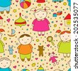 Funny seamless pattern with kids.Girl, boy and toys. Ideal for textile, wallpaper, wrapping, web pages, etc. - stock vector