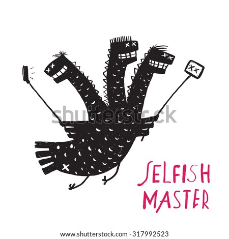 Funny Selfish Dragon Taking Selfie Stick Photo Rough Hand Drawn Print Design. A humorous smiling egoist monster character trait black and white illustration.  Vector illustration. - stock vector