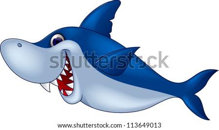 Funny shark cartoon - stock vector