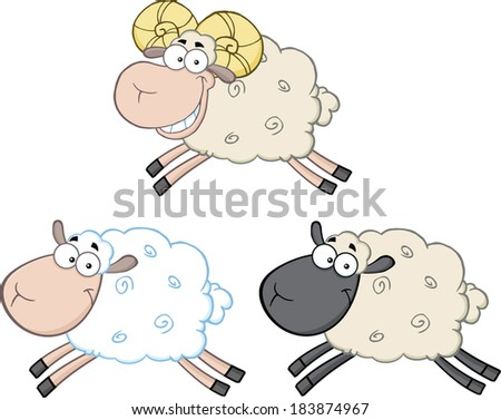 Funny Sheep Cartoon Mascot Characters 3. Vector Collection Set - stock vector