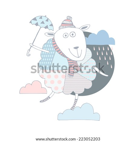Funny sheep on clouds in vector card. Cartoon childish background. - stock vector