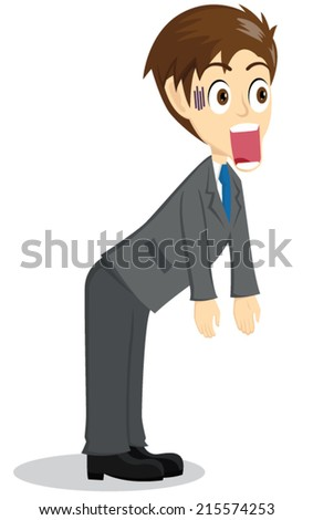 Funny Shocking Businessman Expression - stock vector