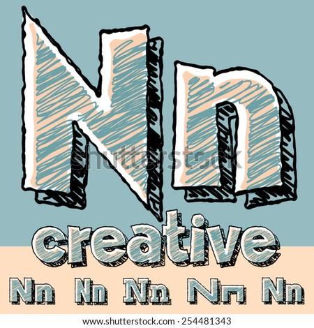 Funny sketch alphabet. Vector illustration of hand drawing font. Letter N - stock vector